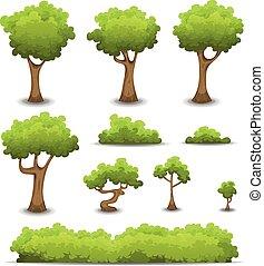 barriere, cespuglio, set, albero, foresta