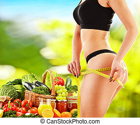 basato, verdura, dieta, crudo, dieting., bilanciato, organico