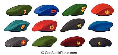 basco, icon., illustrazione, isolato, set, berretto, icona, vettore, fondo., cartone animato, militare, esercito, bianco