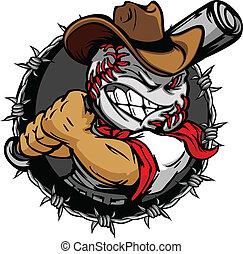baseball, cowboy, holdin, cartone animato, faccia