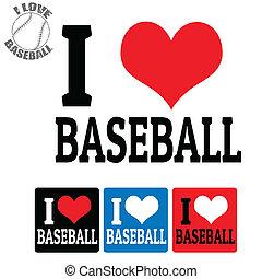 baseball, etichette, amore, segno
