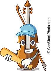 baseball, forma, carattere, violino esegue