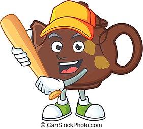 baseball, mascotte, cartone animato, sorridente, sportivo, teiera