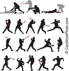 baseball, pose, silhouette, 21, dettaglio