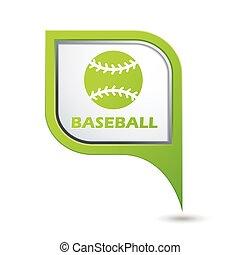 baseball, puntatore, mappa, icona