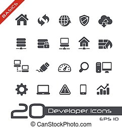 //, basi, sviluppatore, icone