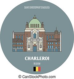 basilica, christopher's, simboli, belgium., architettonico, città, charleroi, santo, europeo