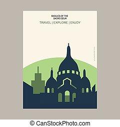 basilica, coeur, manifesto, stile, francia, sagoma, vendemmia, punto di riferimento, sacre, parigi