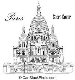 basilica, coeur, parigi, illustrazione, mano, vettore, sacre, disegno