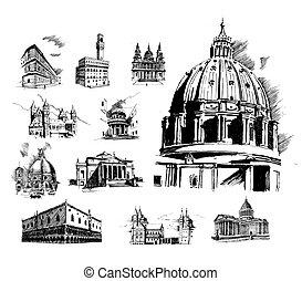 basilico, cattedrale, vettore, santo, illustrazione