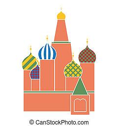 basilico, mosca, simbolo, quadrato, russia, -, santo, disegno, cattedrale, rosso, appartamento