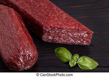 basilico, salame, legno, spezie, salsiccia, fondo