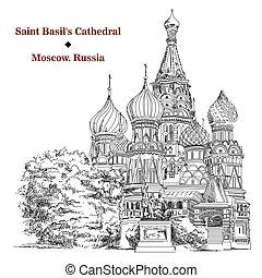 basil's, immagine, mosca, vettore, santo, cattedrale, mano, disegno