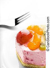 basso-caloria, isolato, frutta, saporito, fondo, torta, bianco