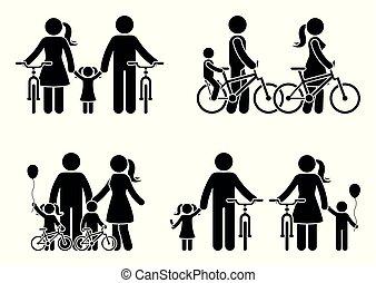 bastone, bicicletta, famiglia, figura, pictogram