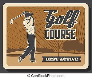 bastone da golf, golfista, sport campo