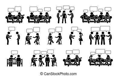 bastone, persone, un altro, icons., pictogram, figura, comunicazione, conversazione, uno