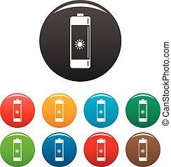 batteria, colorare, set, icone