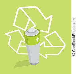 batteria, energia, -, /, verde, ecologic, riciclare, rinnovabile