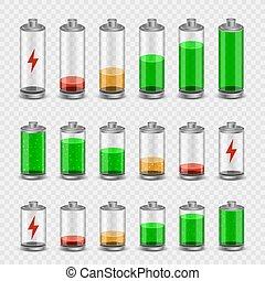 batteria, set, trasparente, fondo, icona