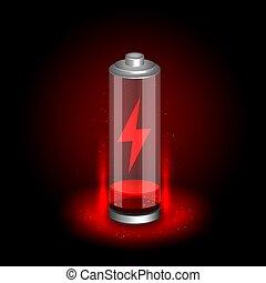 batteria, simbolo, nero, scaricato, fondo