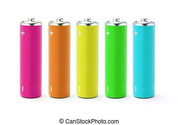 batterie, multicolor, formato, aa