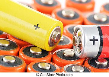 batteries., spreco, composizione, alcalino, chimico