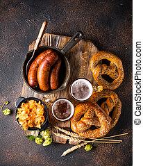 bavarese, cibo, birra, pretzel
