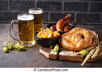 bavarese, pretzel, cibo, birra