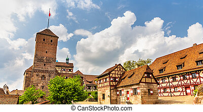 baviera, nuremberg, germania, castello, vista