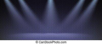 beams., teatro, trasparente, illustration., raggi luminosi, sagoma, checkered, vettore, proiettore, fondo.
