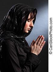 begli occhi, donna, chiuso, pregare, headscarf