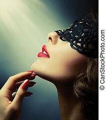 begli occhi, donna, laccio, lei, sopra, maschera, nero