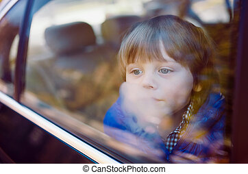 beige, nero, interior., ragazzo, automobile, bambino