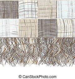 beige, plaid, grunge, strisce, checkered, marrone, frangia, colori, blu