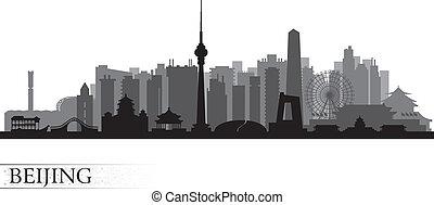beijing, siluetta skyline, città