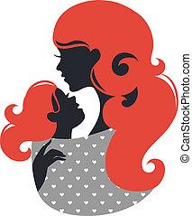 bel bambino, silhouette, fionda, madre