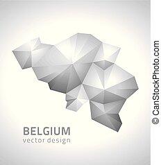 belgio, polygonal, vettore, grigio, mappa