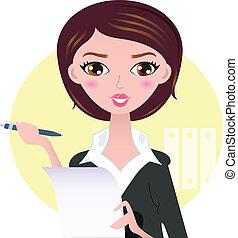 bella donna, affari, isolato, giallo, penna, fondo