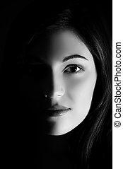 bella donna, arte, foto, faccia, mezzo