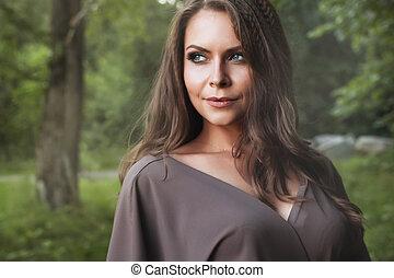 bella donna, autunno, girl., fall., moda, portrait.