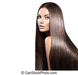 bella donna, bellezza, diritto, isolato, capelli lunghi, nero, hair., bianco