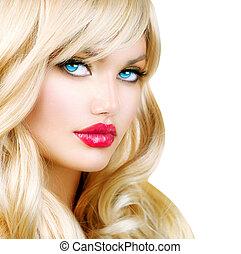 bella donna, capelli lunghi, ondulato, portrait., biondo, biondo, ragazza