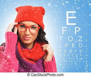 bella donna, cappello, sopra, rosso, prova, sciarpa, tavola., visione, occhiali