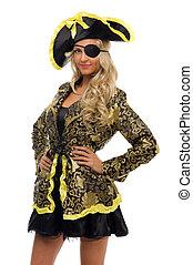 bella donna, carnevale, forma., costume., pirata