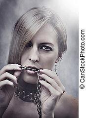 bella donna, catena, lei, truccare, manicure, mouth.