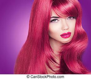 bella donna, coloritura, haired, lungo, luminoso, moda, portrait., makeup., hair., rosso, lucido