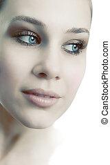 bella donna, faccia, femminile, fresco, sensuale
