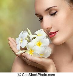 bella donna, flower., bellezza, giovane, faccia