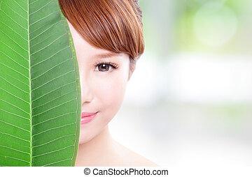 bella donna, foglia, faccia, verde, ritratto